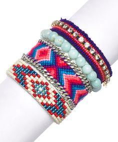 Loving this Fuchsia Guatemalan Bracelet Set on #zulily! #zulilyfinds