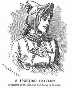 Victorian Punch cartoon by Linley Sambourne (1844-1910). Visit Sambourne's preserved home at 18 Stafford Terrace, London #bonnet #History #Fashion #Dress #Victorian #fashionhistory