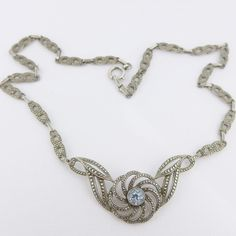 ANTIQUE ART DECO THEODOR FAHRNER BLUE SPINEL & SILVER MARCASITE NECKLACE