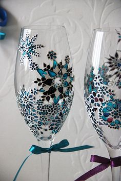Hand painted glasses - turquoise, white, black theme