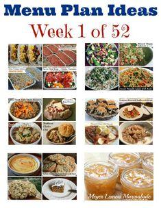 Weekly Meal Plan – Menu Plan Ideas Week 1 of 52. Has freezer meals!