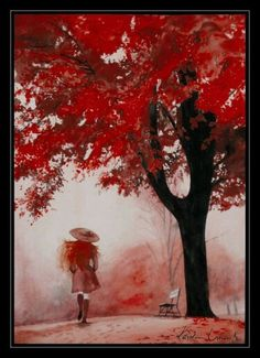 I love this painting of this artists vision of fall. I found it stumbling but couldn't find the artist Pablo Picasso, Colorful Pictures, Pretty Pictures, Pretty Pics, Umbrella Art, Great Works Of Art, Girl Falling, Color Stories, Love Painting
