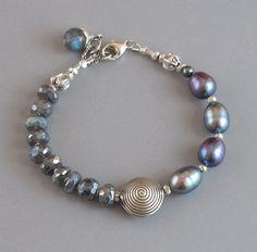 djs Mystic Labradorite Spectrolite Pearl Sterling Silver Bead Bracelet Sundance #DJStrang