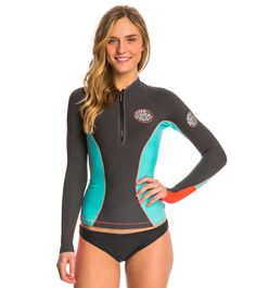 Rip Curl Women's G-Bomb Front Zip 1MM Long Sleeve Wetsuit Jacket at SwimOutlet.com - The Web's most popular swim shop
