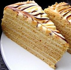 medovnik needs a translator :( Czech Desserts, Sweet Desserts, Layered Desserts, Sweet Recipes, Cake Recipes, Slovak Recipes, Austrian Recipes, Czech Recipes, Homemade Pastries