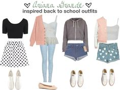 Ariana Grande Inspired Back to School Outfits Back School Outfits, School Outfits Tumblr, Outfits For Teens For School, First Day Of School Outfit, Fall Outfits For Teen Girls, School Girl Outfit, Summer Outfits, Valentinstags Outfits, Teen Fashion Outfits