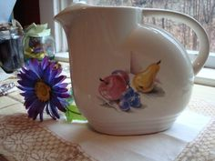 Vintage Knowles Utility Ware Pitcher with Fruit Design