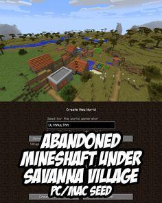 Abandoned mineshaft beneath savanna village for Minecraft (PC/Mac). Seed:ULTRAULTRA