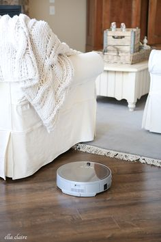 How I keep my Dark Floors Clean- Robotic Vacuum Review - Ella Claire http://www.ellaclaireinspired.com/how-to-clean-dark-floors-robotic-vacuum-review/