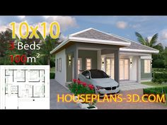 Interior House Design Plans with 3 Bedrooms Full Plans - House Plans Small House Design Pla Modern Bungalow House, Bungalow House Plans, Small House Plans, House Design 3d, Roof Design, House Layout Plans, House Layouts, One Storey House, 2 Bedroom House Plans