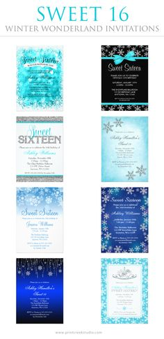 Winter wonderland sweet 16 invitations. Modern designs featuring snowflakes in teal, silver, and blue. Save on orders of 25 invites or more!