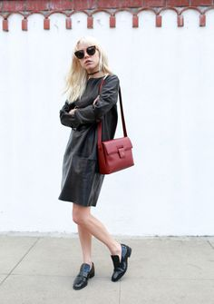 A leather dress is an instantly cool piece perfect for transitional weather.