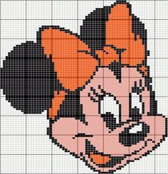 Minnie Mouse perler bead pattern - Crochet / knit / stitch charts and graphs Cross Stitch For Kids, Cross Stitch Baby, Cross Stitch Charts, Cross Stitch Patterns, Disney Mouse, Mickey Mouse And Friends, Baby Disney, Minnie Mouse, Disney Stitch