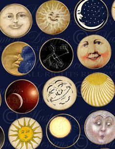 This listing is for one digital collage sheet Sun, Moon & Stars images one inch round each, on a white background (see 2nd image).    These