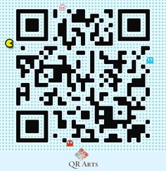 PacMan interactive designer QR code by QR Arts Tag Design, Design Art, Free Qr Code, Code Art, New Media Art, Virtual Art, Graph Paper, First World, Pixel Art