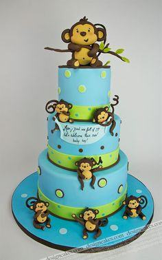 Pin For Later: The Prettiest Over The Top Baby Shower Cakes Playful Baby  Monkeys