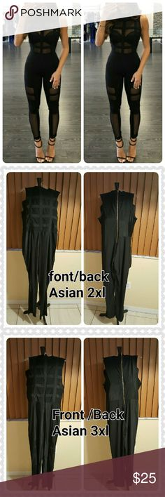JUST IN. LAURA BLACK MESH JUMPSUIT 100% BNWOT. GOOD CONDITION. SOLID BLACK. GOLD ZIPPERS IN BACK. TIGHT FITTED. HAVE SOME STRETCH. LITTLE SNAGS, CAN BE TRIMED. THIS IS AN ASIAN ITEM WHICH TENDS TO RUN SMALL COMES IN ASIAN 2XL/US SIZE 12. ASIAN 3XL/US SIZE 14. (ASIAN 2XL MEASUREMENT BUST 38 INCHES .WAIST 34 INCHES.HIPS 38 INCHES.SEAM 30 1/2 INCHES. SHOULDERS 13 1/2 INCHES. LENGTH FROM TOP SHOULDER /BOTTOM 56INCHES.)  ASIAN 3XL BUST 40 INCHES WAIST 38INCHES  HIPS 40 INCHES  SEAM 32 INCHES…