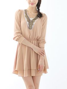 Retro long sleeve dress