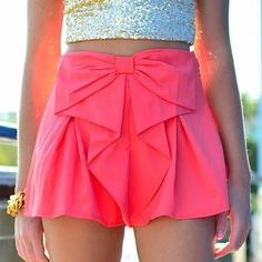 shorts shorts bow skirt pink skirt top skort love need this help tank top gold crop top gold glitter crop top skirt glitter Rosa Rock, Bow Skirt, Coral Skirt, Waist Skirt, Cute Skirts, Denim Skirts, Mode Inspiration, Looks Style, Mode Style