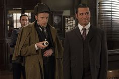 Murdoch Mysteries: Andrew Gower as Sherlock Holmes and Yannick Bisson as William Murdoch. Copyright CBC.