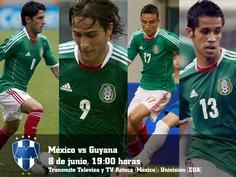 Apoya a #Mexico vs Guyana, con los #Rayados: Ángel Reyna, Aldo de Nigris, Eduardo Zavala y Severo Meza.    8 de junio, 19:00 horas.  Transmiten Televisa y TV Azteca (México), Univisión (EUA).