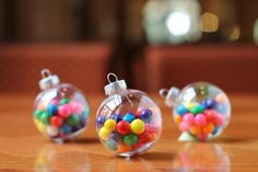 I love these. Would use beads rather than sweets though. Just need a supplier for the baubles!