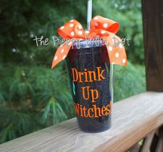 Drink Up Witches! Halloween Glitter Tumbler Cup with Lid & Straw on Etsy, $16.50