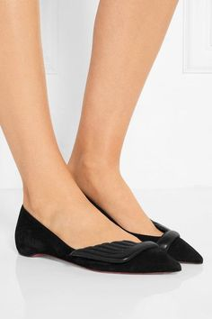Christian Louboutin - Miss Mars Suede And Leather Point-toe Flats - Black - IT40.5