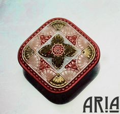 CZECH GLASS BUTTON: 32mm Handpainted Ornate by AriaDesignStudio