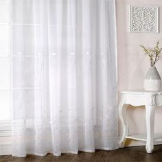 Emma Barclay Melissa Floral Embroidered Voile Curtain Panel, White, 57 x 72 Inch