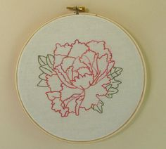 "Peony Hand Embroidery Hoop Art, 7"" Hoop, Variegated Pink and Orange on Etsy, $35.00"