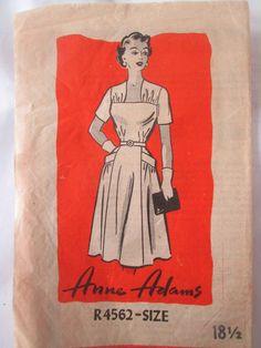 Anne Adams R4562 Women's 50s Day Dress Unprinted Sewing Pattern Bust 38