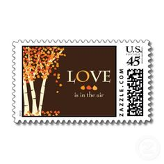"""""""Love is in the air"""" Fall Wedding Invitation Stamp by EllieLLC"""