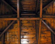 Nashville hip roof porch using timbers by The Porch Company in Nashville. Porch Ceiling, Porch Roof, Ceiling Beams, Front Porch, Timber Roof, Metal Roof, Roof Styles, House Styles, Pergola Canopy