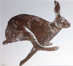 #Hare #Lino #print, #Rabbits, #Animals, #Gifts, Mounted, Original #printmaking by AJ #IllustrationArt