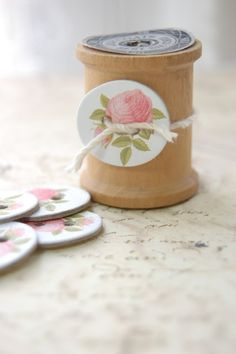 Wooden spool and rose button