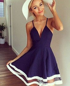 Hot Sale Sexy Spaghetti Strap Navy Blue Dress