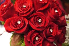 Roses, Best Wishes Florists, Diamonds, wedding bouquet