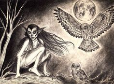 STRZYGA Female demon in Slavic folklore possessing two souls in a single body, identifiable by double hearts and sets of teeth. One soul passes on, the second remains with the body; it hunts at night as an owl, attacking travelers and those who wander into the woods, consuming their prey's blood and internal organs. Decapitate the corpse and bury its head separate to prevent the strzyga from returning to life; burying the body face down with a sickle around its head was said to work as well.