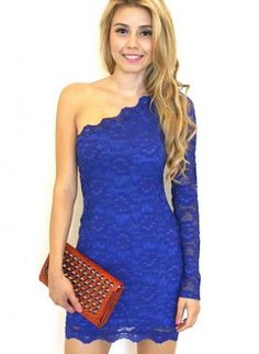 Blue Lace One Shoulder Long Sleeve Bodycon Dress,  Dress, blue lace one shoulder bodycon, Chic