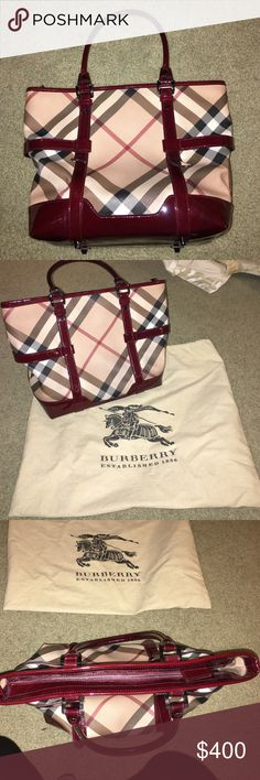 Real Burberry purse. In amazing condition. Real Burberry. Patent leather burgundy trim. No scratches or marks. Zipper to close, ton of storage inside. Rarely used Burberry Bags Shoulder Bags
