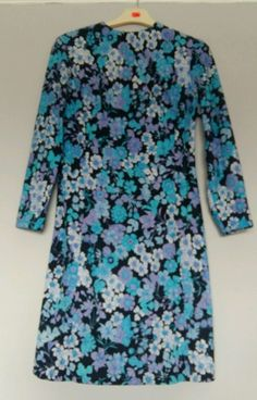 Vintage 1960's Blue purple Floral DRESS - Vtg FLOWER Psych RETRO 1960's 10 12