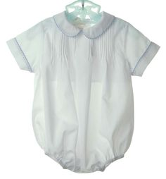 NEW Rosalina White Pintucked Romper with Blue Striped Trim $45.00