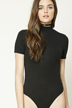 A knit bodysuit featuring a mock neck, button keyhole back, short sleeves, and a snap-button closure. Size small.
