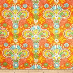 Designed by Jenean Morrison for Free Spirit, this cotton print is perfect for quilting, apparel and home decor accents.  Colors include white, orange, yellow, green and blue.