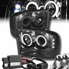 Ford F250/F350 Super Duty 99-04 / Ford Excursion 00-05 1PC Halo LED Projector Headlights - Smoked with HID Kit
