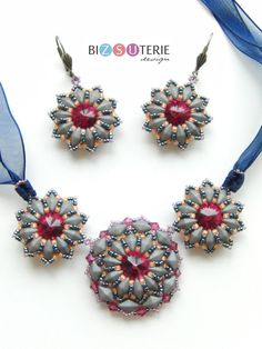 Sophie necklace and earrings - Material you need: Diamonduo beads, Swarovski Crystal Elements - cabochons and bicones 11/0 and 15/0 seed beads.