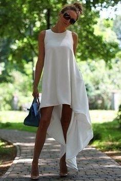 White Plain Round Neck Irregular Sleeveless High-Low Chiffon Dress - Mini Dresses - Dresses