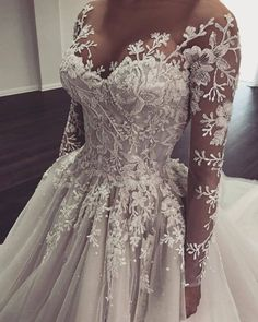 GAYCHUN Classic Heavy beads sequins embroidery lace | Etsy Wedding Gowns With Sleeves, Cute Wedding Dress, Long Sleeve Wedding, Long Wedding Dresses, Wedding Lace, Unique Wedding Gowns, Wedding Rings, Fairytale Wedding Dresses, Colored Wedding Gowns