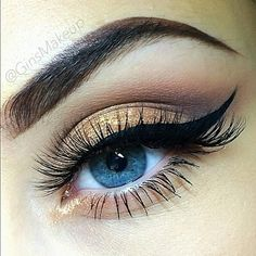 Gold Winged eye bold brow #makeup